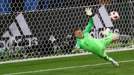 England goalkeeper Jordan Pickford saves a penalty from Colombia's Carlos Bacca. Picture: PA