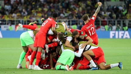 England celebrate after winning the FIFA World Cup 2018, round of 16 match. Picture: PA