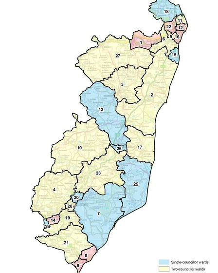 The proposed ward boundaries for the East Suffolk council Picture: ORDINANCE SURVEY/CROWN COPYRIGHT