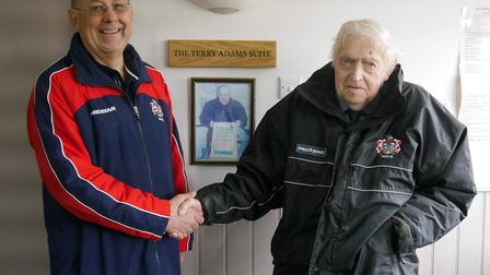Hadleigh chairman Rolf Beggerow, left, with Club president Terry Adams at the naming of the new Terr