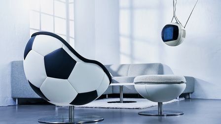 Pitch A Perfect Scheme Hattrick Football Lounge Chair, �2,900 and Footstool, �1,200, Lento, Do Shop