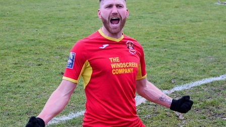 John Sands scores for Needham Market. He has joined Mildenhall Town for next season Photo: BEN POOLE