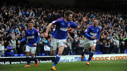 Midfielder Anthony Wordsworth celebrates scoring for Ipswich Town against Hull, but his Blues career