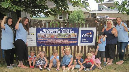 Staff and children at Chelmondiston Playgroup celebrate their good Ofsted rating. Picture: CHEMONDIS