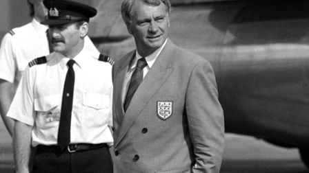 Sir Bobby Robson, pictured leaving Luton airport to fly out with his England squad for the 1990 Worl