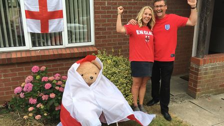 Donna and Mark Crake with their World Cup bear Picture: RUSSELL COOK