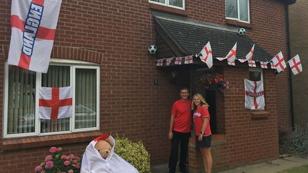 Mark and Donna Crake are backing the Three Lions to win against Sweden Picture: RUSSELL COOK
