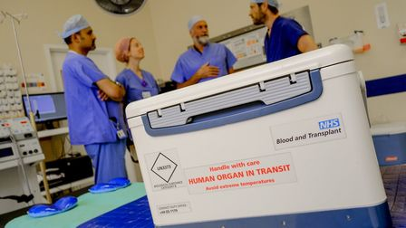 An organ donation box arriving at hospital for transplant operation. Picture: NHSBT