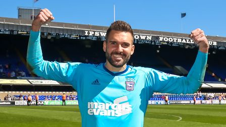 Bartosz Bialkowski on a lap of appreciation after the Ipswich Town v Middlesbrough (Sky Bet Champion