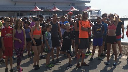Runners congregate for the start of Saturday's Felixstowe parkrun, on the promenade. Picture: CARL M