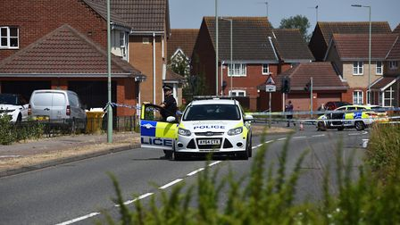 Police at the scene of a stabbing in Underwood Close, Lowestoft Picture: SONYA DUNCAN