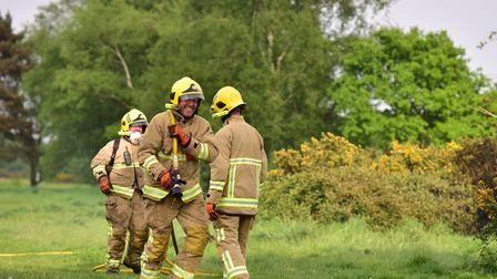 Firefighters were called to stubble and straw bale fires at Stanningfield and Beyton. Picture: SARAH