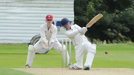 Matt Allen, who scored 27 and then took three late wickets in Mildenhall's exciting draw at Swardest