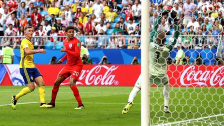 England's Dele Alli scores his side's second goal of the game against Sweden Photo: PA SPORT