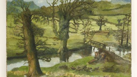 The unearthed Freud landscape has been named 'A Suffolk Spring Landscape with Welsh Mountaihns Beyon