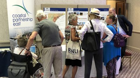 Members of the public view the ideas for Felixstowe's regeneration and give their feedback Picture: