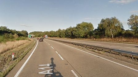 The incident happened on the A14 at Nacton Picture: GOOGLE MAPS