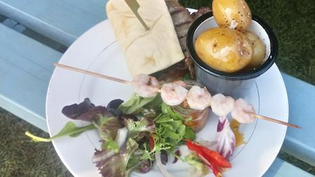 Minute steak flatbread with prawns and lemon and chilli pesto Picture: Archant