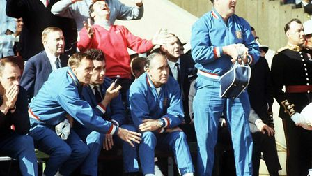 England team manager Alf Ramsey's 1966 touchline ensemble didn't take off in the fashion stakes. Pic