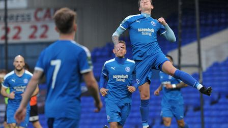 Christy Finch celebrates after scoring in the Suffolk Premier Cup final at the end of last season Ph
