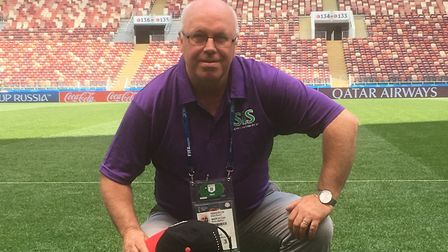 Former Ipswich Town groundsman Alan Ferguson is in charge of the Luzhniki Stadium pitch during the 2