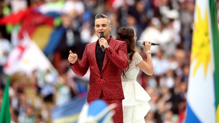 Robbie Williams performs at the opening ceremony of the FIFA World Cup 2018. Photo: PA