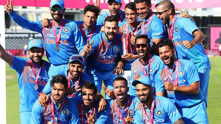 India celebrate the series win during the Second Vitality IT20 Series Match at the Brightside Ground