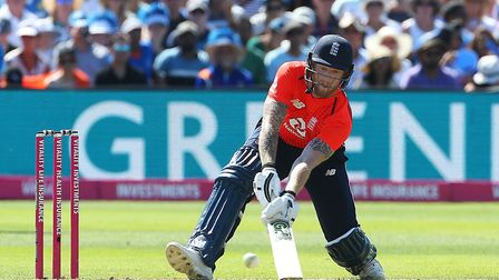 England's Ben Stokes in batting action at Bristol in the second t20 clash with India Photo: PA