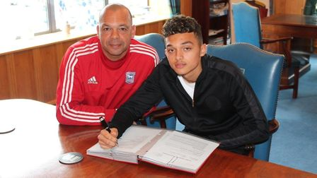 Jason Dozzell and Andre Dozzell when the latter signed his first professional deal with Ipswich Town