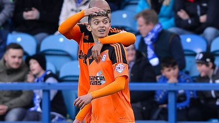 Andre Dozzell celebrates scoring on his Town debut at Sheffield Wednesday aged 16 in April 2016. Pho