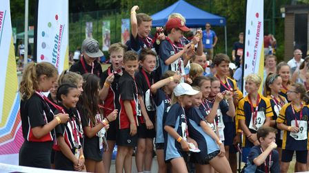 Rougham pupils celebrate their victory in the Under 11 Quadkids competition at the Suffolk School Ga