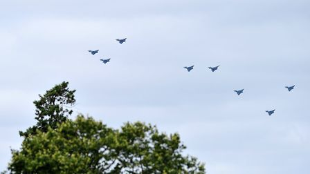 A view of the RAF 100 flypast from the roof of Orwell Park School Picture: SARAH LUCY BROWN