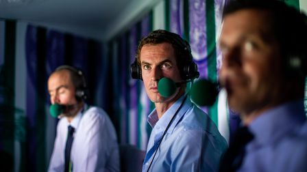Andrew Cotter, Andy Murray and Tim Henman (left-right) in the commentary box at Wimbledon. But we wo