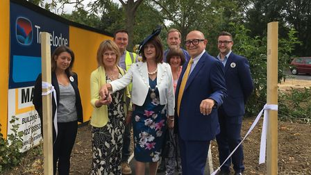 The mayor of St Edmundsbury Margaret Marks cuts the ribbon for the new public footpath Picture: MICH