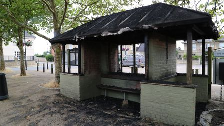 The bus shelter in Wickham Market has been destroyed by fire Picture: JULIAN EVANS