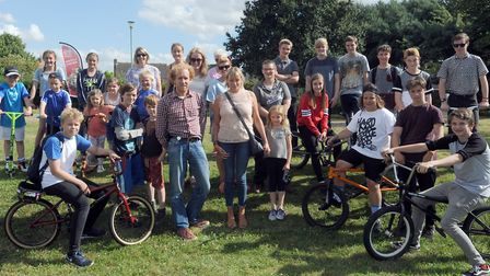The group hoping to build a skate park in Thurston in memory of Ben Wragge. Ben's mum, Claire is pic