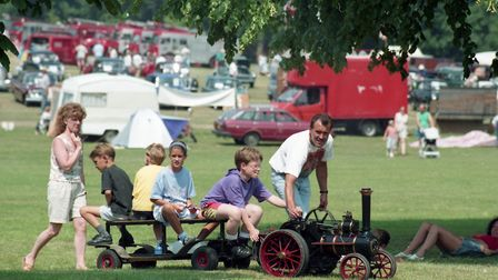 Children riding on a mini steam engine at the vintage fair Picture: RICHARD SNASDELL