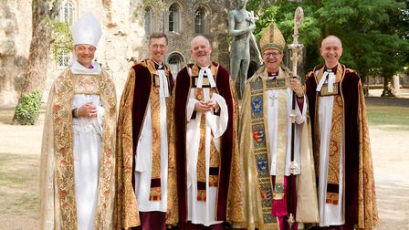 Joe Hawes, centre, who was installed as Dean of St Edmundsbury, with from left, Bishop Mike Harrison