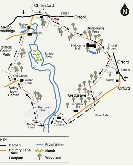 The route for a walk through Butley
