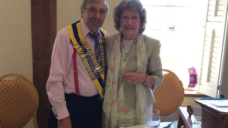 Tony Platt receives the president's chain of office from wife Lesley Ford-Platt Picture: SUDBURY ROT