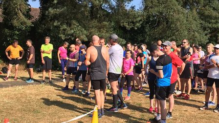 Runners and walkers congregate before the start of Saturday's Swaffham parkrun, held in hot sunshine
