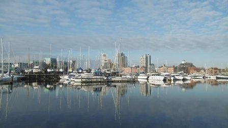 A view towards the town centre across Ipswich Waterfront