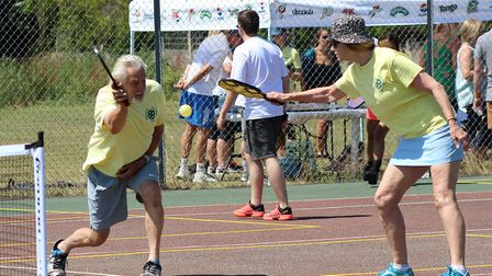Players in action at the opening of the new Pickleball courts in East Bergholt. Picture: TOM MADDAMS