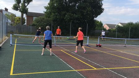 Players in action at the opening of the new Pickleball courts in East Bergholt. Picture: SUE NICOL