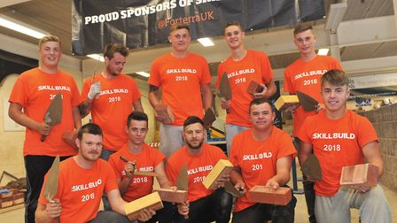 Bricklaying students take part in the SkillBuild 2018 Regional Heat at Easton & Otley College, using