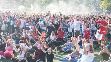 Beer flies in the air as fans celebrate Kieran Trippier's stunning free kick for England against Cro