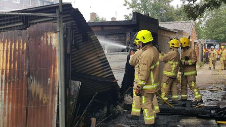Three fire crews from the Ipswich area tackled the blaze Picture: GARETH PERKINS/SUFFOLK FIRE AND RE