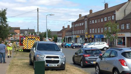 The road was closed while firefighters worked at the scene Picture: ADAM HOWLETT