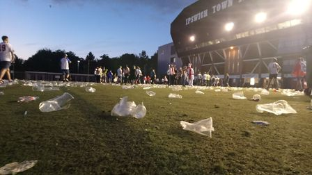 Cups on the ground at Portman Road as England fans leave the fanzone Picture: KATY SANDALLS