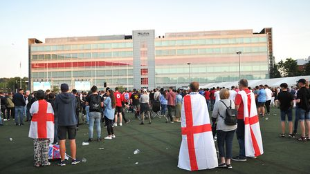 Suffolk County Council created an England flag on Endeavour House Picture: SARAH LUCY BROWN